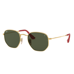Ray-Ban RB3548NM F00931 51-21 Hexagonal Scuderia Dourado / Verde