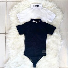 Imagem do Body Feminino Tule Transparente Gola Angel Manga Curta Balad