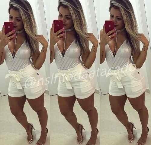 26c4018fe6b548 Short Feminino Com Cinto Em Bengaline Cintura Alta