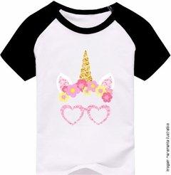 fb47f3d635fd7 ... Camiseta Infantil Unicórnio Com Óculos De Coração Rosa Fofo. 1