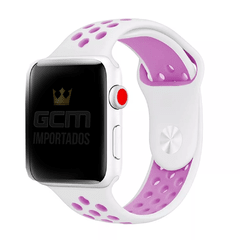Pulseira Nike Sport Apple Watch Branco E Lilás Silicone 38mm 42mm 40mm 44mm