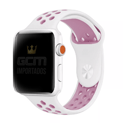 Pulseira Nike Sport Apple Watch Branco E Rosa Silicone 38mm 42mm 40mm 44mm