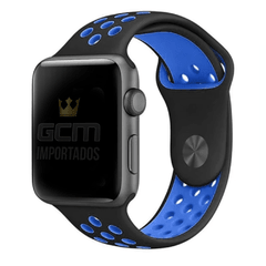 Pulseira Nike Sport Apple Watch Preto e azul  38mm 42mm 40mm 44mm