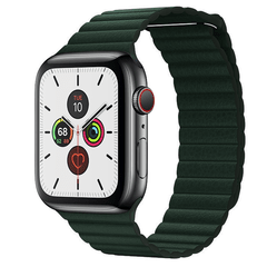 Pulseira Verde Escuro Couro Loop Para Apple Watch 38mm 40mm 42mm 44mm