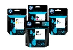 Cartuchos de tinta inkjet originales HP 10 negro + 82  (Delivery Pack 4 colores)