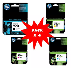 Cartuchos de tinta inkjet originales HP 920 y 920XL (Delivery Pack 4 colores)