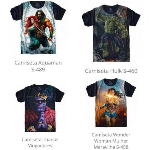 2c6f3b0f4 Camisa Camiseta Super Heróis E Vilões Plus Size