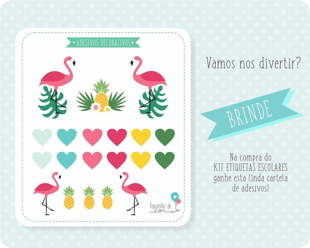 Kit Etiquetas Escolares Flamingo Tiquinho De Cor