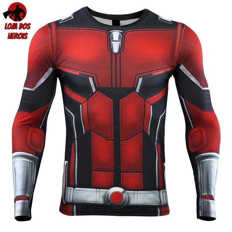 857be85137 1. 2. 3. 4. Camisa/Camiseta Hash Guard Homem Formiga Vingadores Ultimato  Endgame Manga Compressão