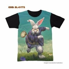 Camiseta  Unissex  Psicodélica Wonderland  White Rabbit