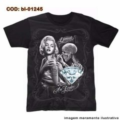 Camiseta Marilyn Monroe  Skull Tattoo