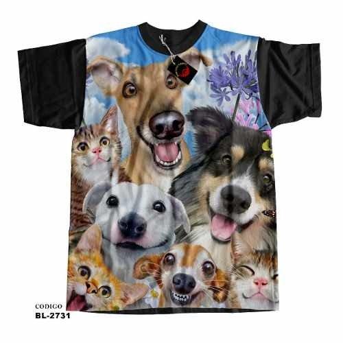 facc98ec73ff06 Camiseta Unissex Cachorros E Gatos Selfies