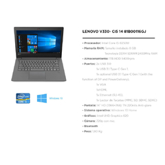 "Notebook Lenovo V330-14IKB 14"" I5 8250U + RAM 8gb + HDD 1tb + Win 10 Home - comprar online"