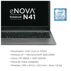 "Notebook eNova 14"" I5 + RAM 8gb + 500gb HDD + 128gb SSD (sin SO) - comprar online"