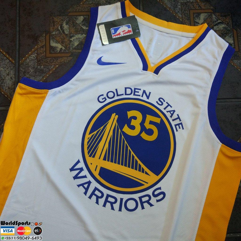 17764524d6 Camiseta Regata Nike Swingman NBA Golden State Warriors Home - Kevin Durant  - Branco e Amarelo