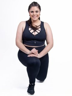 Calça Legging Plus Size Emana Basic Preto - Moda Fitness Plus Size