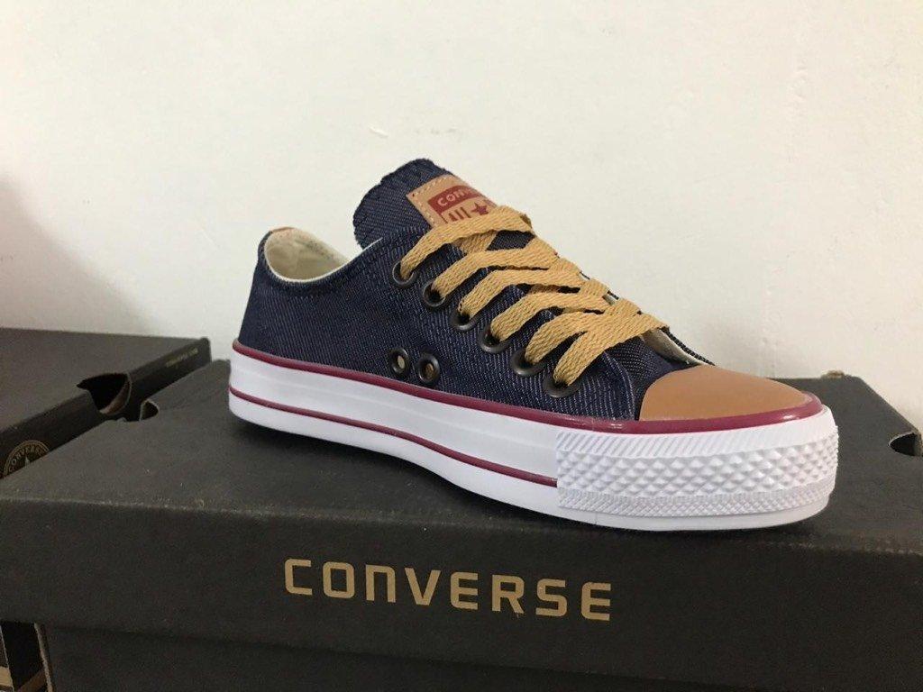Zapatillas estilo Converse Azul con Beige