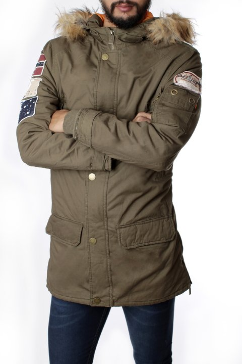 Parka De Gabardina Con Parches No End 32460