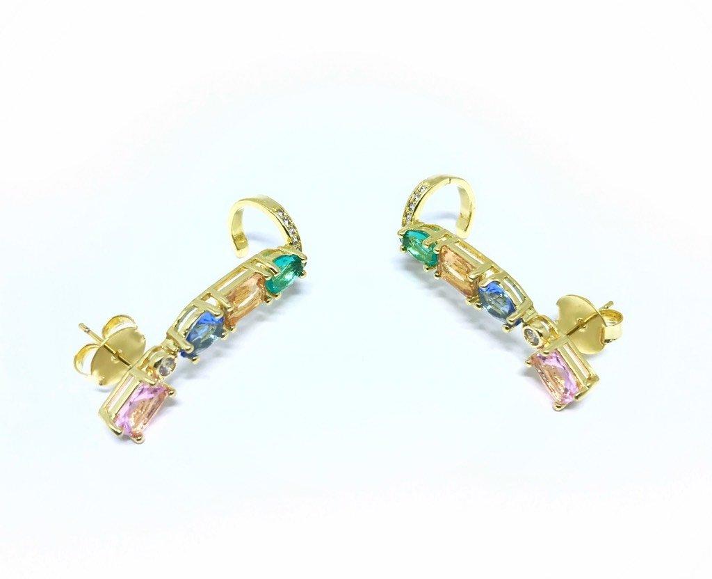 be2b4cda22650 Brinco Ear Cuff Pedras Coloridas Suave- Banho de Ouro Amarelo - Semijoia