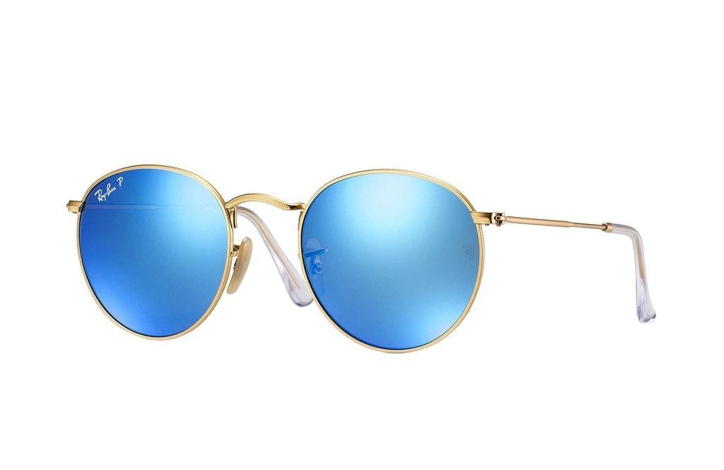 abd40e45d8ce6 Ray Ban Round Metal 3447 dorado azul espejado polarizado Originales  Italianos. Garantía