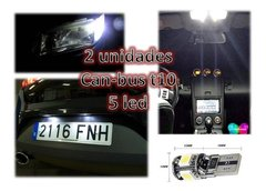 Lampara Led T10 5 Led Creed Blanco Frio Can-bus Posicion New - Audio Trends
