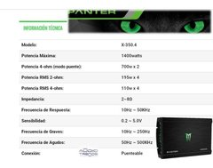 Potencia Monster 1400w Panter X-350.4 4 Canales - Audio Trends