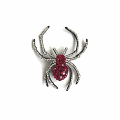 Aplique Aranha Strass Red