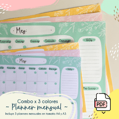 Combo! Planner mensual x 3 colores