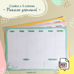 Combo! Planner semanal x 3 colores