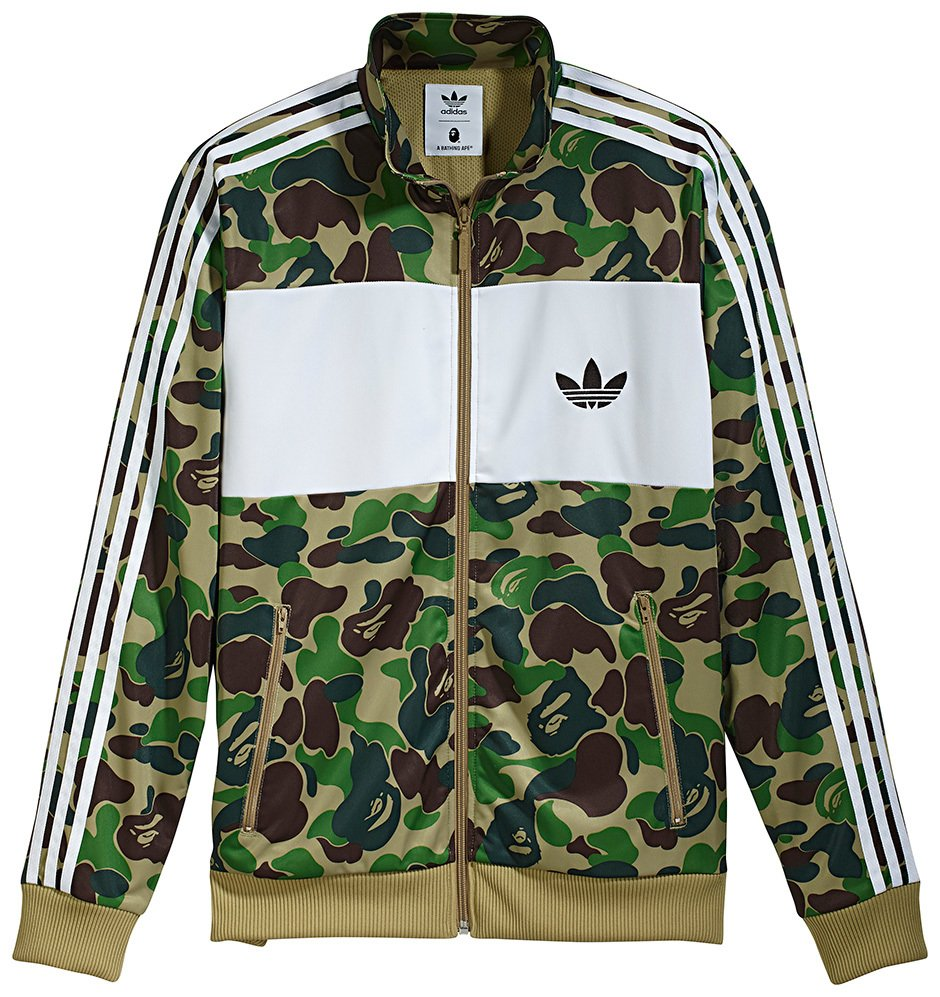 8671da91 Original Adidas X Bape Firebird Track Jacket BK4569 Green Camo Bape Zip  Jacket