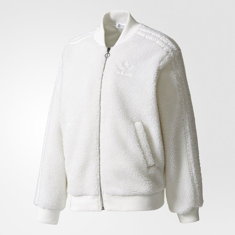 a6ecafa4a Original Adidas Superstar Track Jacket White Caliroots SST BR5191 Buff  Sherpa Fleece Jacket