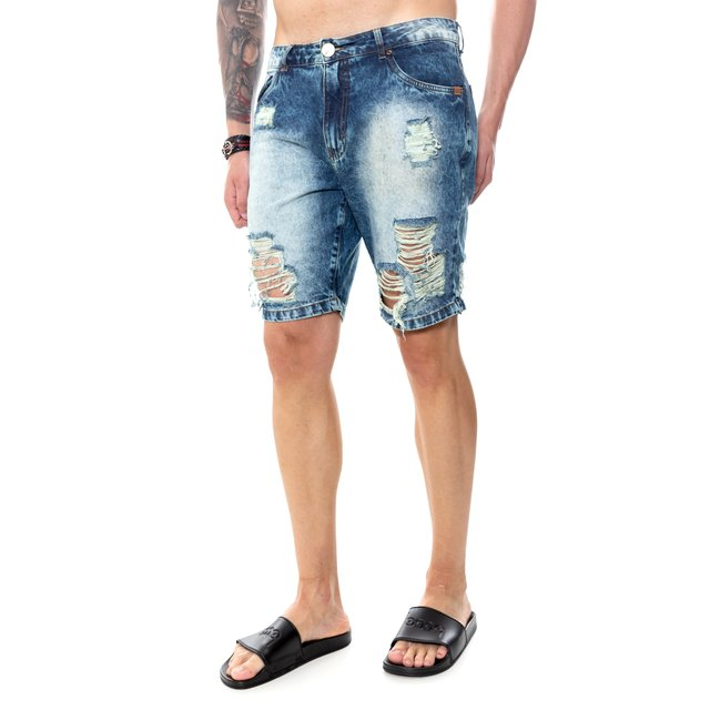 BERMUDA JEANS BLUE DESTROYED