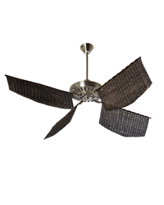 Ventilador rattan Caribe color chocolate platil.