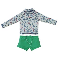 Conjunto Infantil Masculino UV Protection  Beachwear Navy Branco - Grow UP