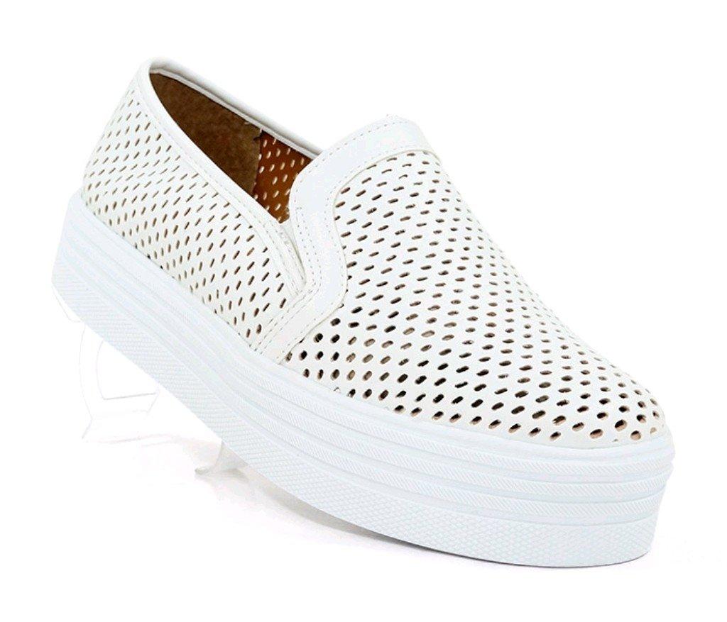 2b5b35340a5 Tênis Feminino Slip-On Plataforma Doma Shoes Branco