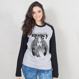 MANGA LONGA RAGLAN CINZA - IT'S NOT ABOUT THE MONEY