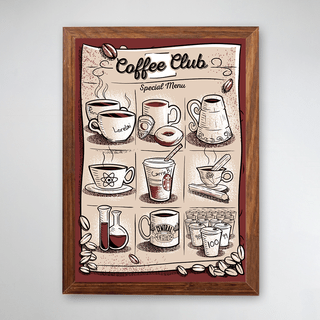 PÔSTER COM MOLDURA - COFFEE CLUB