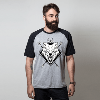camiseta raglan cinza night wolf
