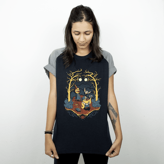 CAMISETA RAGLAN PRETA - BIRDS OF THE GARDEN WALL