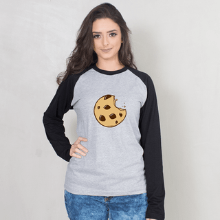 MANGA LONGA RAGLAN CINZA - COOKIE CARTOON