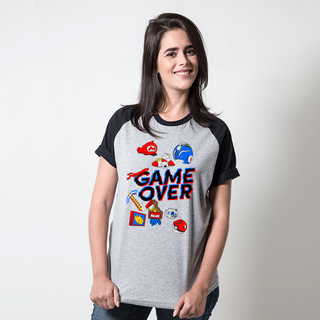 CAMISETA RAGLAN CINZA - GAME OVER
