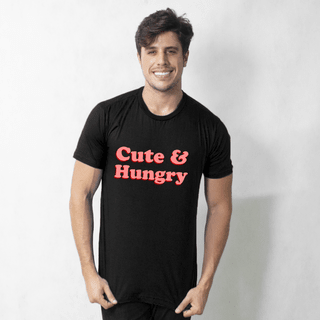 CAMISETA PRETA - CUTE AND HUNGRY