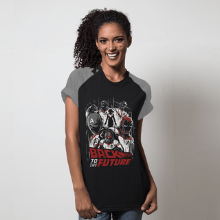 camiseta raglan preta back to the future