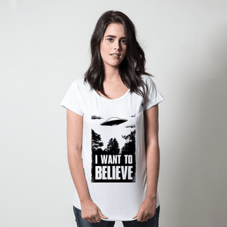 CAMISETA BRANCA - I WANT TO BELIEVE