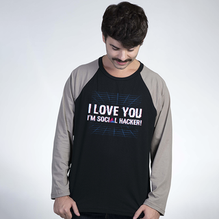 MANGA LONGA RAGLAN PRETA - I LOVE YOU SOCIAL HACKING