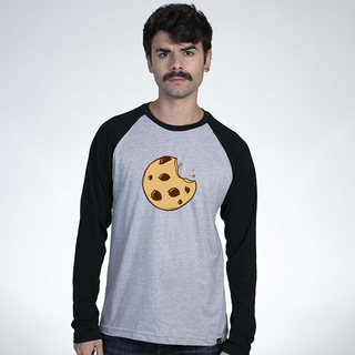 MANGA LONGA RAGLAN CINZA - COOKIE CARTOON - comprar online