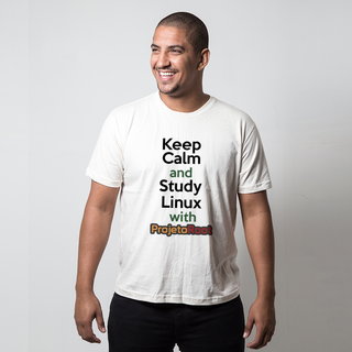 CAMISETA PALHA - KEEP CALM STUDY LINUX