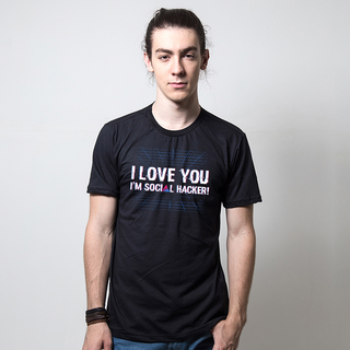 CAMISETA PRETA - I LOVE YOU SOCIAL HACKING