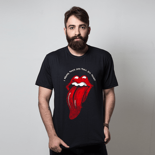 camiseta preta música i wanna rock