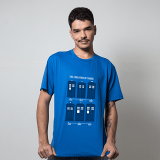 camiseta azul royal filmes e series evolution of tardis